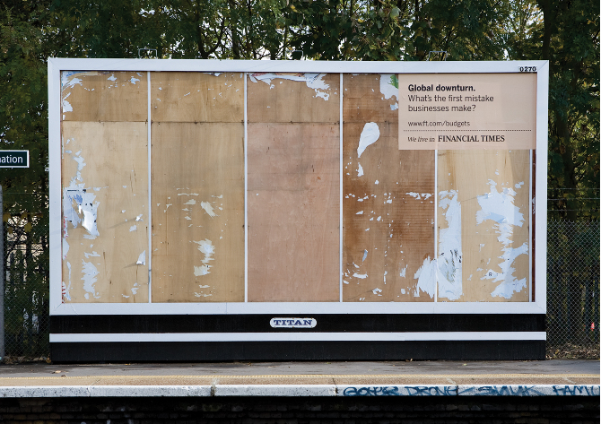 Financial Times outdoor billboard campaign example by DDB London 2008